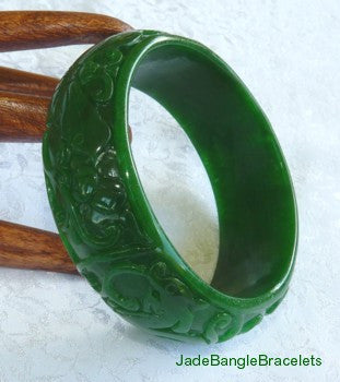 "WIDE CUFF ""Butterfly"" Carved Deep Green Jadeite Jade Bangle Bracelet 61mm (JBB3118)"