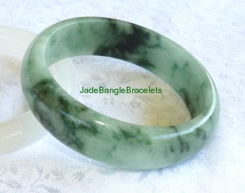 """Chinese Calligraphy Pattern"" Jadeite Bangle Bracelet 58mm  (JBB3136)"