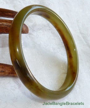 """Glowing Earth"" Deep Honey Translucent Chinese Jade Bangle Bracelet 61mm (JBB3138)"