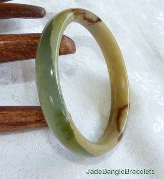 """Earth and Wood"" Element Chinese River Jade Bangle Bracelet 54.5mm (JBB3150)"