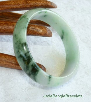 Big Green Veins Yin and Yang Jadeite Jade Bangle Bracelet 58mm (JBB3157)