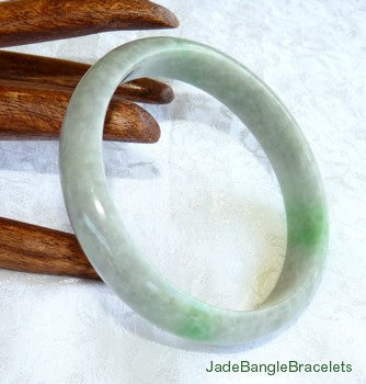 Charcoal Grey-Green with Green Veins Jadeite Jade Bangle Bracelet 61mm (JBB3158)