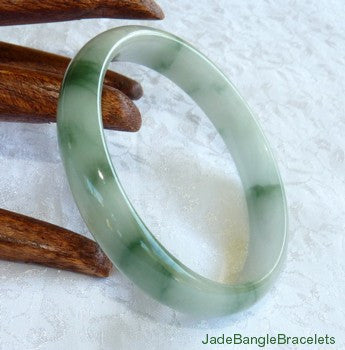 Mossy Green Veins on Translucent White Jadeite Bangle Bracelet 59.5mm (JBB3166)