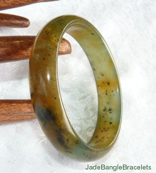 """Butterfly Tracks"" on Red and Green Chinese River Jade Bangle Bracelet 59mm (JBB3173)"