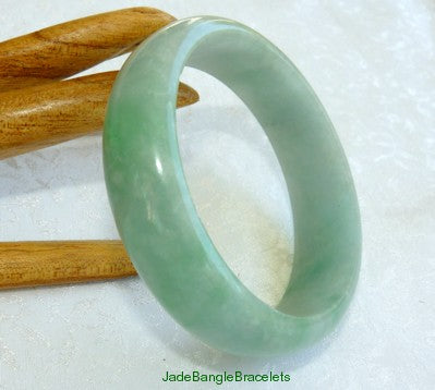 Varied Green Veins Burmese  Jadeite Jade Bangle Bracelet 55mm (JBB3183)