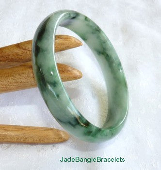 Precious Green Veins Jadeite Jade Bangle Bracelet 58mm (JBB3197)