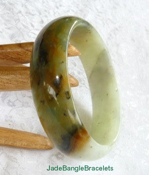 """Overcoming Obstacles"" Chinese Jade Bangle Bracelet 59mm Natural Color (JBB3201)"
