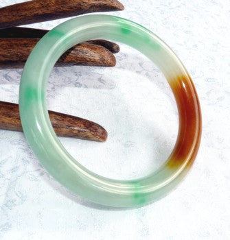 "Clearance - Classic Round ""Fu Lu Shou"" Three Color Jadeite Jade Bangle Bracelet  64mm (JBB3211)"