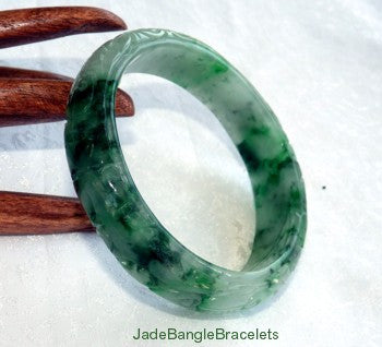 "Large - Men's ""Live Long and Happy"" Carved Jadeite Jade Bangle Bracelet 68mm (JBB3212)"