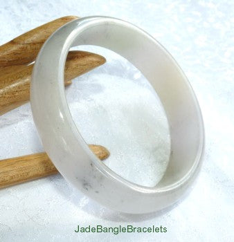 "Clearance - ""Smokey White"" Jadeite Jade Bangle Bracelet 58mm (JBB3215)"