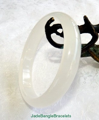 Translucent White Chinese Jade Bangle Bracelet 63 mm (JBB3282)