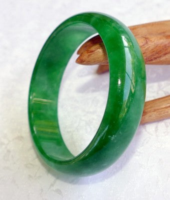 Clearance - Translucent Green Burmese Jadeite Bangle Bracelet 59mm (JBB3238)