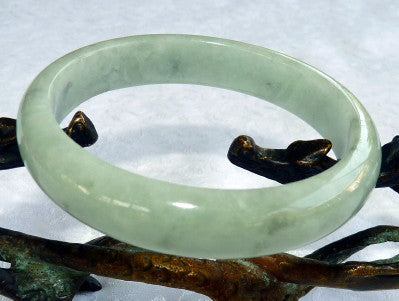 \Good Green Genuine Burmese Jadeite Bangle Bracelet 58.5mm (JBB3255)
