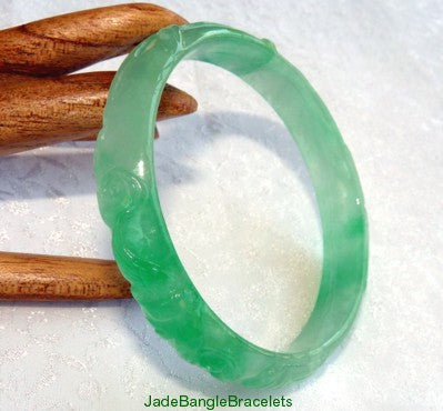 """Phoenix and Bamboo"" Carved Burmese Jadeite Bangle Bracelet 56.5mm (JBB3265)"