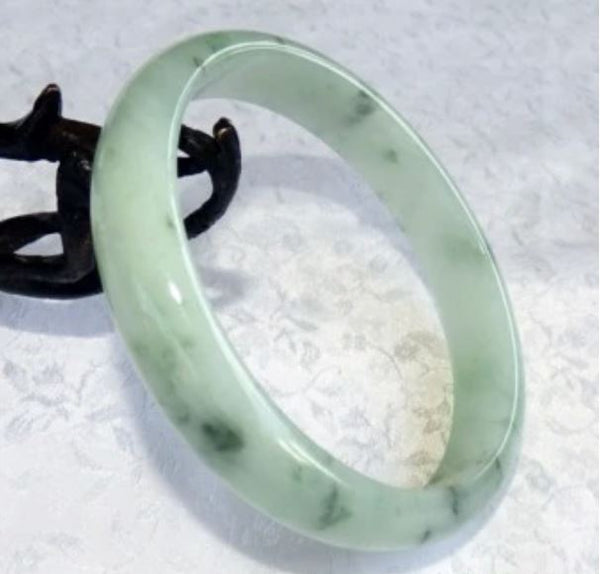 "Sale-""Peppery"" Large Men's Translucent Jadeite Jade Bangle Bracelet 73.5mm (JBB3277)"
