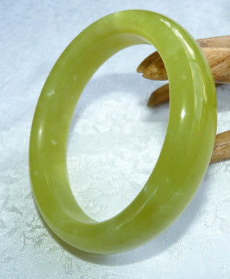 """Don't Worry-Be Happy!"" Chinese Jade Bangle Bracelet 61.5mm (JBB3325)"