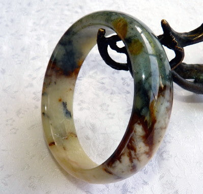 """Endlessly Interesting"" Natural Color Chinese ""River Jade"" Bangle Bracelet 59.5 mm (JBB3385)"