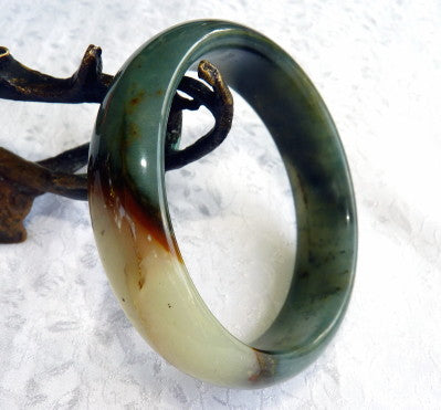 """Powerful  Compassionate Woman"" Chinese River Jade Bangle Bracelet 60 mm (JBB3386))"