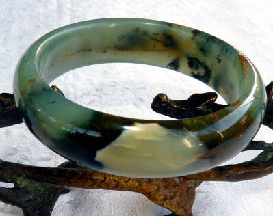 Powerful Compassionate Woman Chinese River Jade Bangle Bracelet 59 mm (JBB3387)