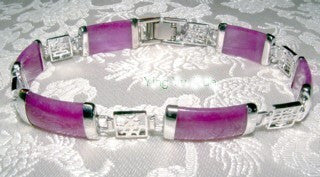 Free with Purchase $300+  Lavender Jade and Silver Link Bracelet-Add to Cart