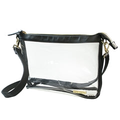 Clear Crossbody Stadium/Concert Bag - Large Black - SALE