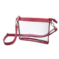 Clear Crossbody Stadium/Concert Bag - Small Crimson - SALE