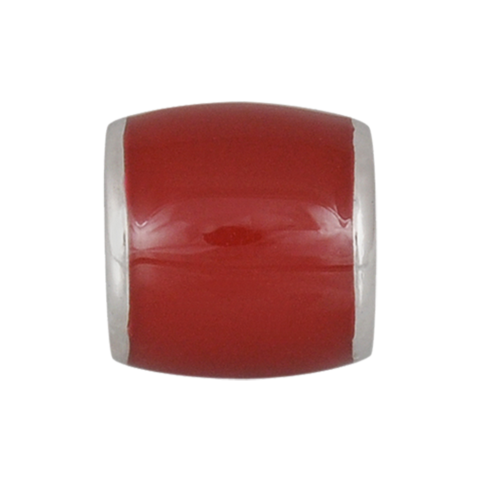 Gorgeous Red Bead, Enamel, Sterling Silver