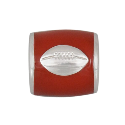 Bead - Crimson Enamel with Football - SALE