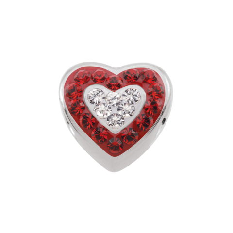 Crimson/white Crystal Heart Bead