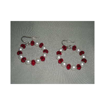 Earrings - Crimson Crystal & Pearl Hoop - SALE