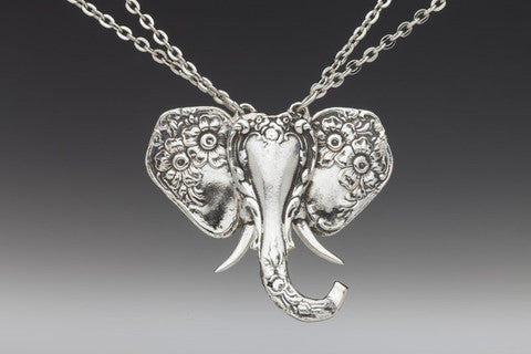 Silver Spoon Elephant Pendant on Double Chain