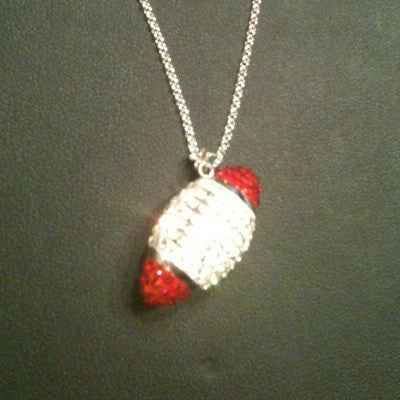 Swarovski Crystals and Sterling Silver Football - SALE