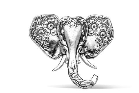 Silver Spoon Elephant Brooch