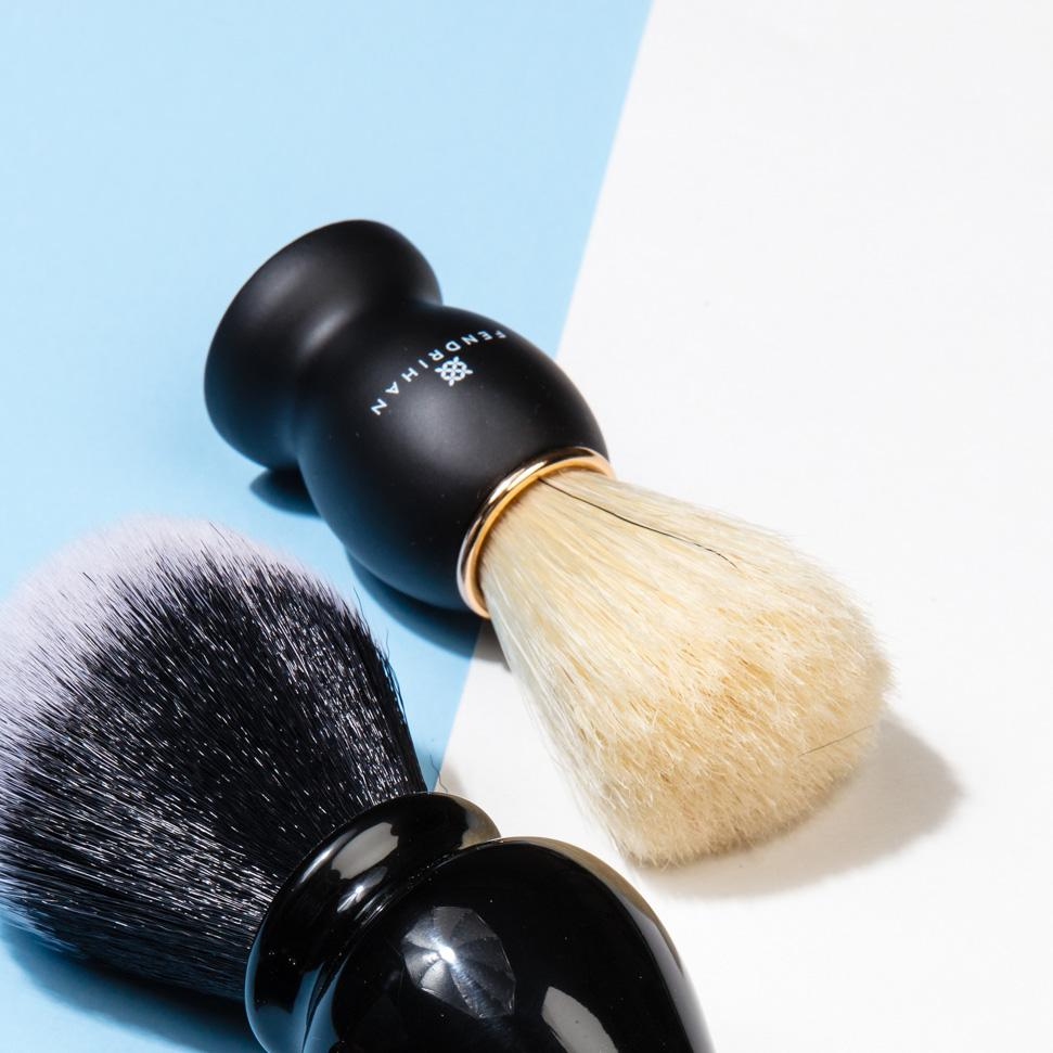 Fendrihan Pure Boar Bristle Shaving Brush, Black Wood Handle with Gold Rim Boar Bristles Shaving Brush Fendrihan