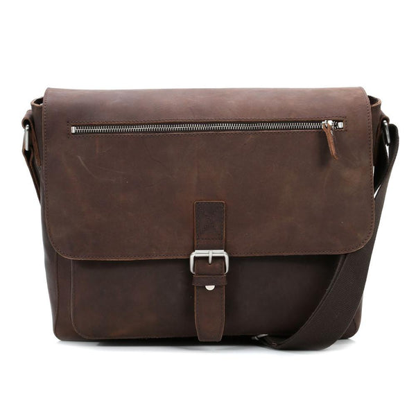 "Leonhard Heyden Salisbury Leather Messenger Bag with 13"" Laptop Compartment - Medium, Brown - Fendrihan Canada - 2"