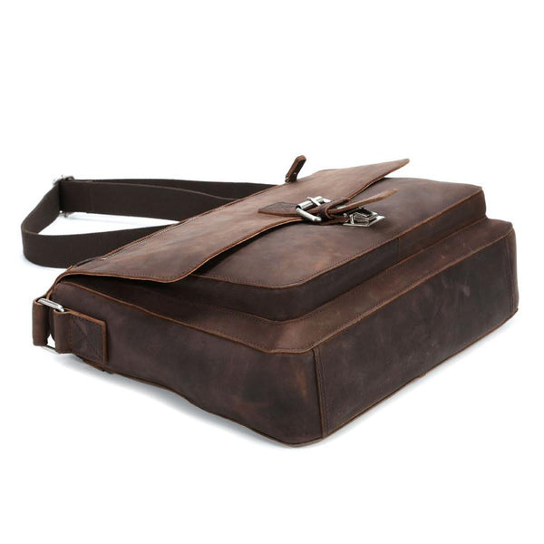 "Leonhard Heyden Salisbury Leather Messenger Bag with 13"" Laptop Compartment - Medium, Brown - Fendrihan Canada - 3"