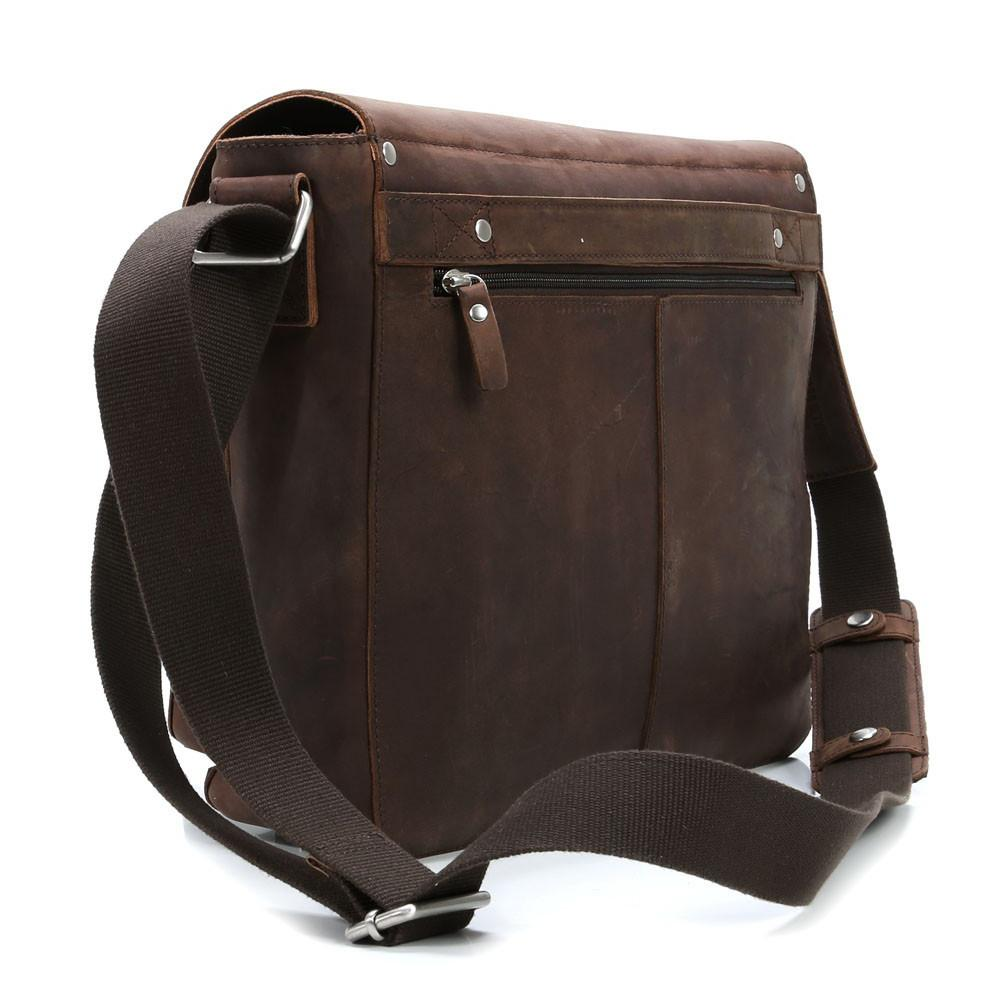 "Leonhard Heyden Salisbury Leather Messenger Bag with 13"" Laptop Compartment - Medium, Brown Leather Briefcase Leonhard Heyden"
