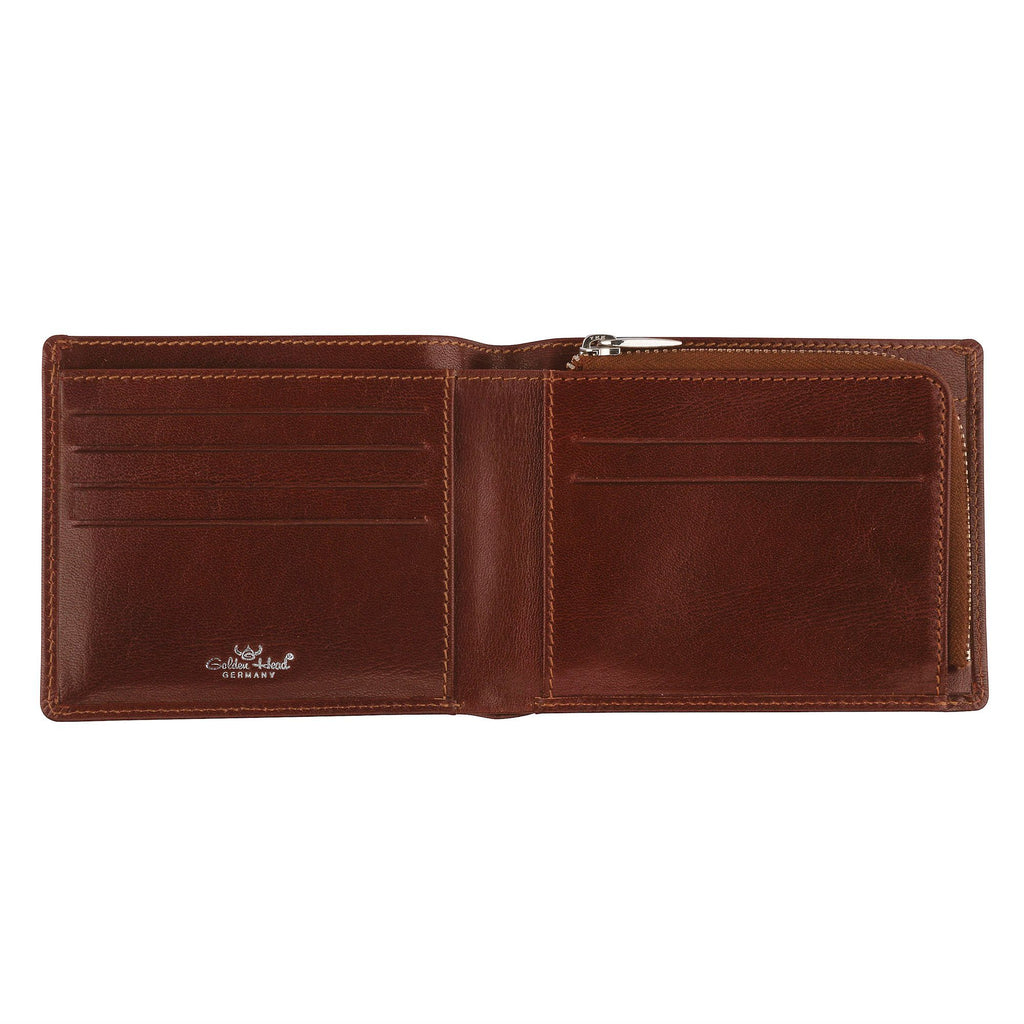 Golden Head Colorado Billfold Leather Wallet with Zipped Coin Pouch, Tobacco Leather Wallet Golden Head