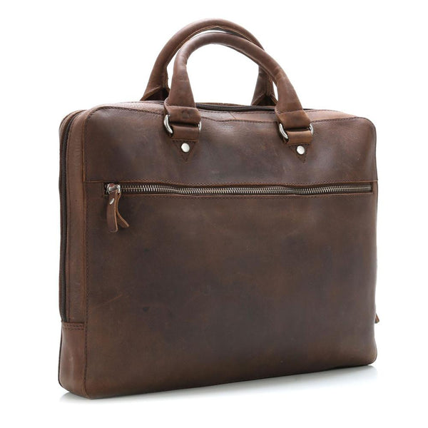 "Leonhard Heyden Salisbury Briefcase with 14"" Laptop Compartment, Brown Leather - Fendrihan Canada - 3"