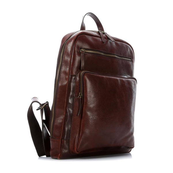 "Leonhard Heyden Cambridge Leather Backpack with 15"" Laptop Compartment, Cognac Leather - Fendrihan Canada - 2"