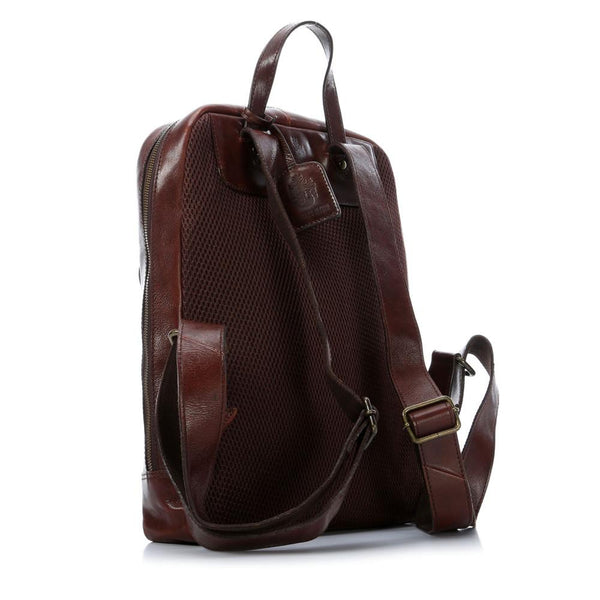 "Leonhard Heyden Cambridge Leather Backpack with 15"" Laptop Compartment, Cognac Leather - Fendrihan Canada - 3"