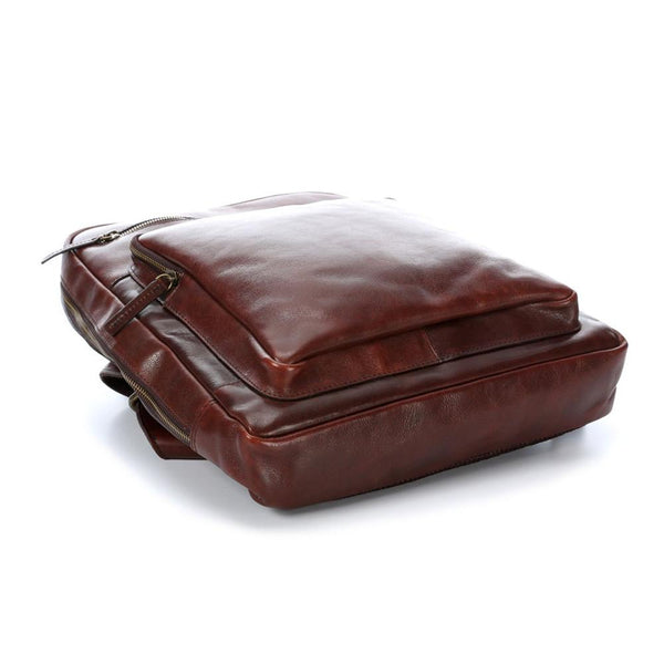 "Leonhard Heyden Cambridge Leather Backpack with 15"" Laptop Compartment, Cognac Leather - Fendrihan Canada - 4"