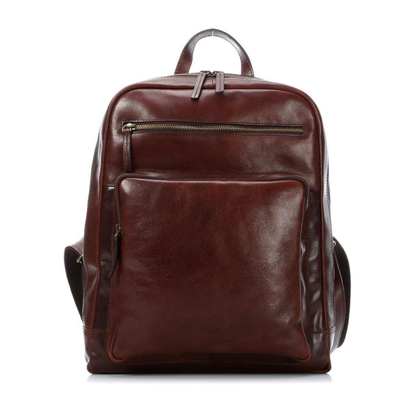 "Leonhard Heyden Cambridge Leather Backpack with 15"" Laptop Compartment, Cognac Leather - Fendrihan Canada - 1"