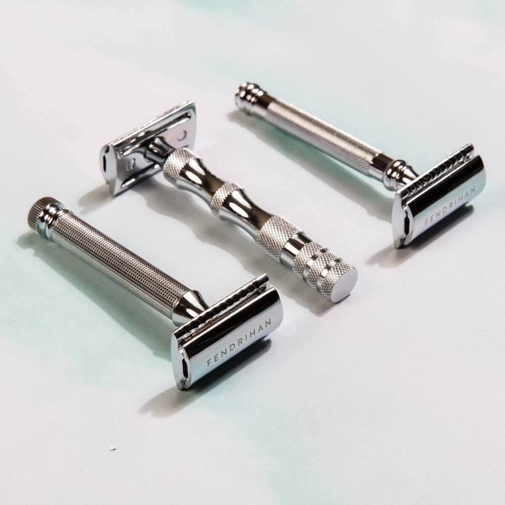 Fendrihan Double Edge Safety Razor, Square Knurled Handle Double Edge Safety Razor Fendrihan