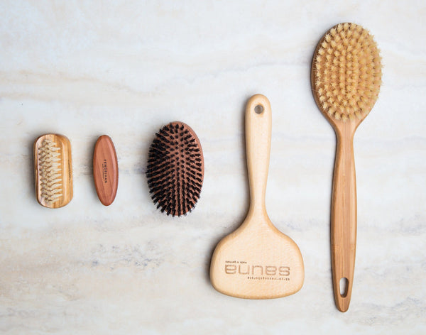 Pure Nature Beechwood Boar Bristle or Tampico Fiber Body Massage Brush - Made in Germany