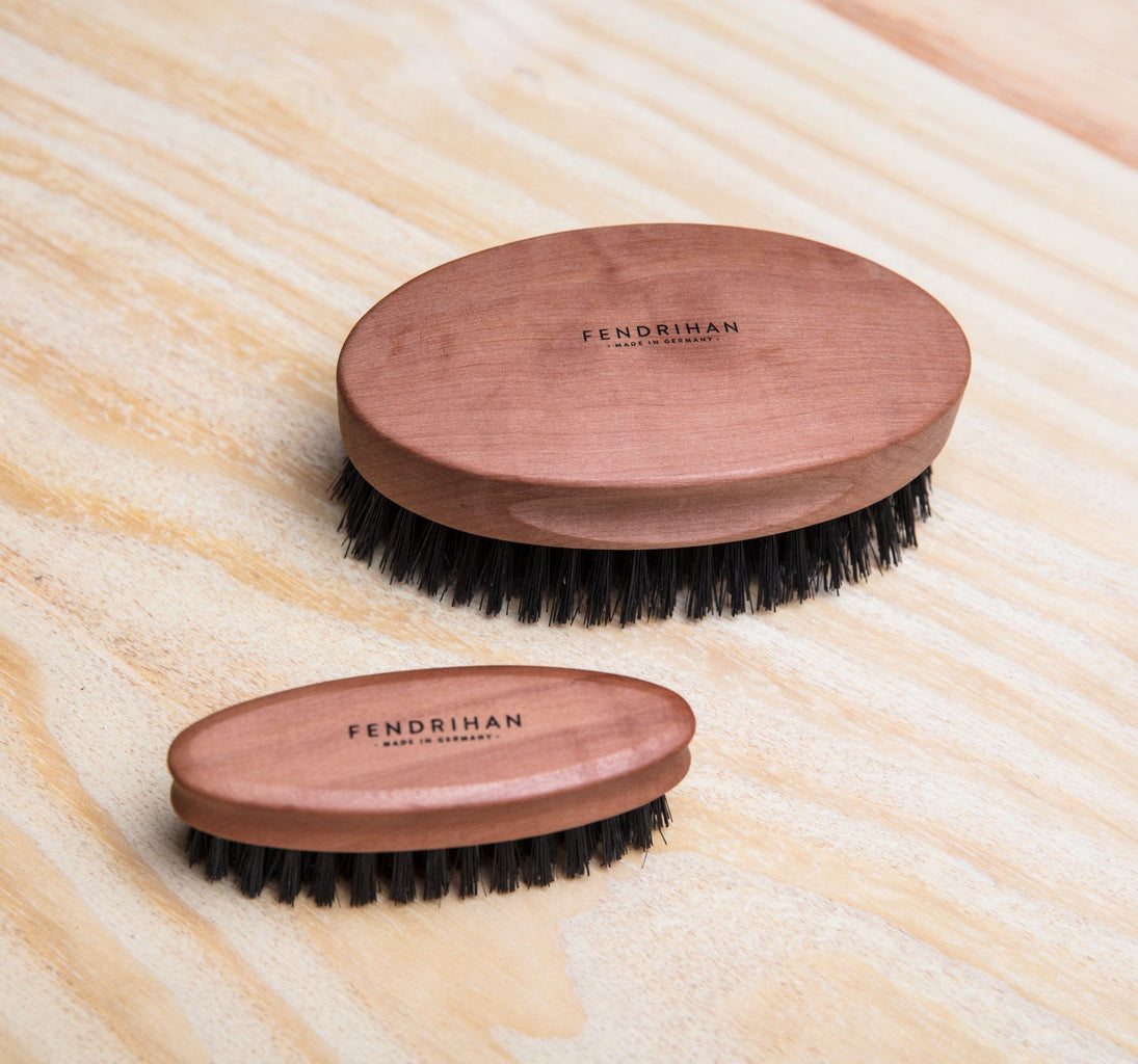 Men's Pearwood Military Hairbrush with Pure Soft or Wild Boar Bristles - Made in Germany