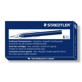 Staedtler Fountain Pen Giant Size Ink Cartridges, 6-Pack Ink Refill Staedtler Blue