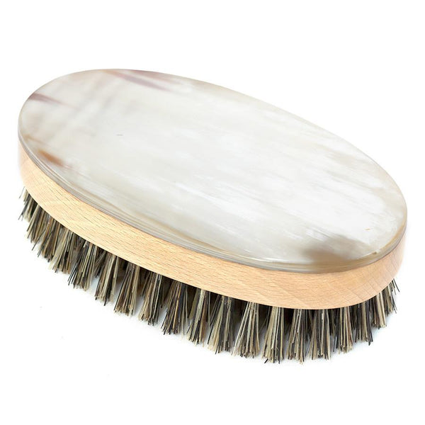Abbeyhorn Ox Horn, Wood and Natural Bristle Oval Hair Brush - Fendrihan Canada - 3