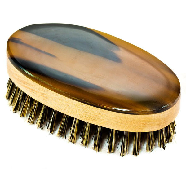 Abbeyhorn Ox Horn, Wood and Natural Bristle Oval Hair Brush - Fendrihan Canada - 2