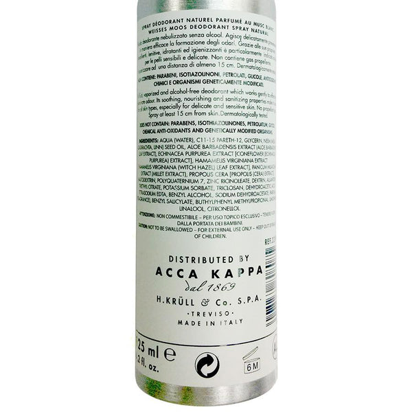 Acca Kappa White Moss Natural Deodorant Spray For Sensitive Skin - Fendrihan Canada - 2